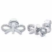 Sterling Silver Bow CZ Earrings