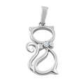 Sterling Silver Bow Tie Cat Clear CZ Pendant