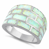 Sterling Silver Bricks White Lab Opal Ring