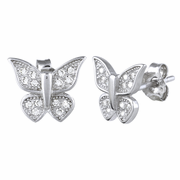 Sterling Silver Butterfly CZ Earrings