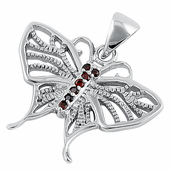 Sterling Silver Butterfly CZ Pendant