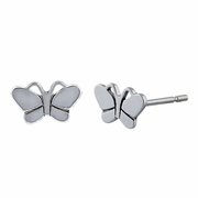 Sterling Silver Butterfly Plain Stud Earrings