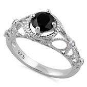 Sterling Silver Butterfly Design Black CZ Ring