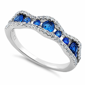 Sterling Silver Cascading Wave Round Cut Clear & Blue Spinel CZ Ring