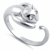 Sterling Silver Cat Clear CZ Ring
