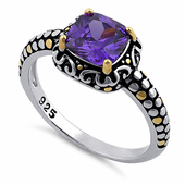 Sterling Silver Celtic Amethyst Cushion CZ Ring