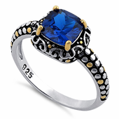 Sterling Silver Celtic Blue Spinel Cushion CZ Ring