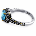Sterling Silver Celtic Blue Topaz Cushion CZ Ring