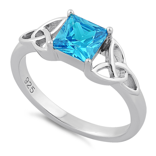 sterling silver celtic blue topaz princess cut cz ring