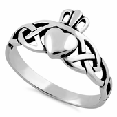 Sterling Silver Celtic Claddagh Ring