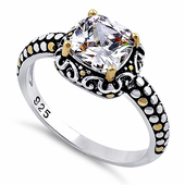 Sterling Silver Celtic Clear Cushion CZ Ring