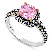 Sterling Silver Celtic Pink Cushion CZ Ring