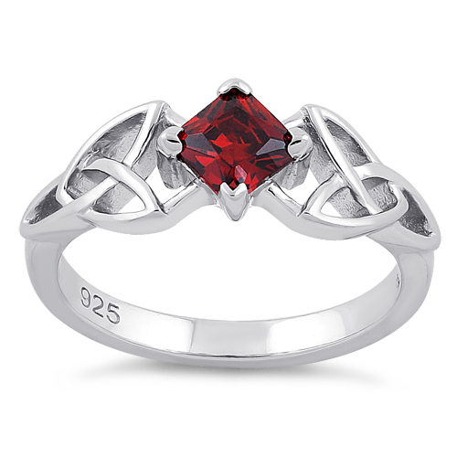 sterling silver celtic princess cut garnet cz ring