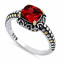 Sterling Silver Celtic Garnet Cushion CZ Ring