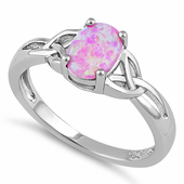 Sterling Silver Center Stone Charmed Pink Lab Opal Ring