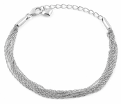 Sterling Silver Chain Links Heart Bracelet