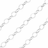 Sterling Silver Chain Ovale Filo Tondo 5.1mm x 7.8mm (sold by the foot)