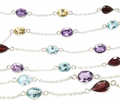 Sterling Silver Chain w/ Bezelled Multi Semi Precious Stones (sold by the foot)