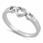 Sterling Silver Chained Heart Ring