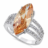 Sterling Silver Champagne Marquise CZ Ring