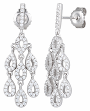 Sterling Silver Chandelier Drop CZ Dangle Earrings