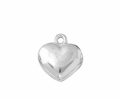 Sterling Silver Charm Puffed Heart 11mm - PACK OF 2