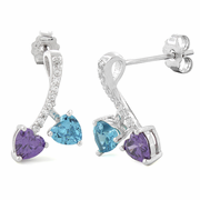 Sterling Silver Cherry Hearts Amethyst/Blue Topaz CZ Earrings