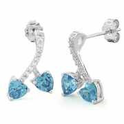 Sterling Silver Cherry Hearts Blue Topaz CZ Earrings