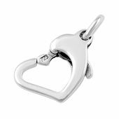 Sterling Silver Clasp Floating Heart 12mm