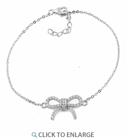 Sterling Silver Classic Bow Clear CZ Bracelet