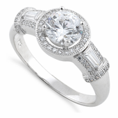 Sterling Silver Classic Clear Halo CZ Engagement Ring