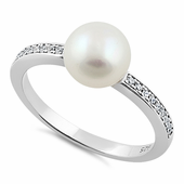 Sterling Silver Classic Pearl Round Clear CZ Ring