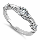 Sterling Silver Classic Round Cut Clear CZ Engagement Ring