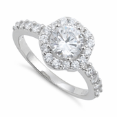 Sterling Silver Clear Cushion Cut Engagement CZ Ring