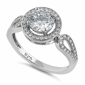 Sterling Silver Clear CZ Halo Engagement Infinity Band Ring