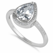 Sterling Silver Clear CZ Tear Drop Engagement Ring