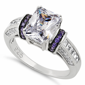Sterling Silver Clear Emerald Cut Amethyst CZ Ring