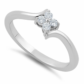 Sterling Silver Clear Flower CZ Ring