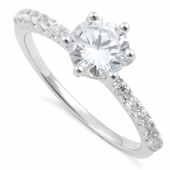 Sterling Silver Clear Halo Cut Engagement CZ Ring