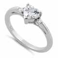 Sterling Silver Clear Heart CZ Ring