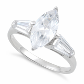 Sterling Silver Clear Marquise Cut Engagement CZ Ring
