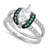 Sterling Silver Clear Marquise Emerald CZ Black Plating Ring