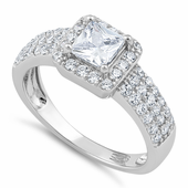 Sterling Silver Clear Princess Cut Pave CZ Ring
