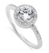 Sterling Silver Clear Round CZ Halo Engagement Ring