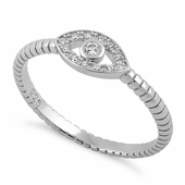 Sterling Silver Clear Stone Evil Eye CZ Ring