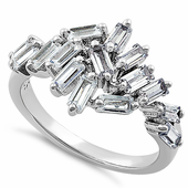Sterling Silver Cluster Baguette Straight Clear CZ Ring
