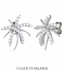 Sterling Silver Palm Tree CZ Earrings