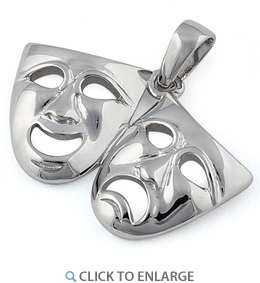 Sterling Silver Comedy and Tragedy Masks Pendant
