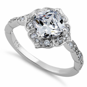 Sterling Silver Compass Clear Cushion Cut CZ Engagement Ring