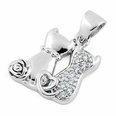 Sterling Silver Couple Cats CZ Pendant